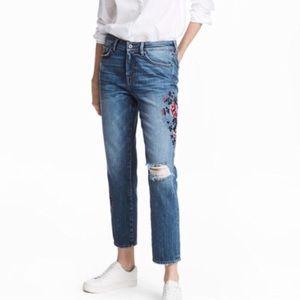 NWT $50 H&M hi-waist embroidered distress jean 12
